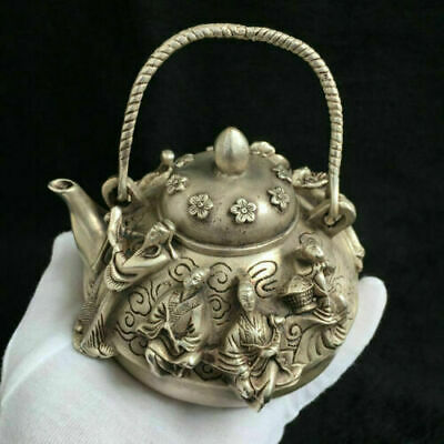 Chinese old Tibetan silver Carved Eight immortals teapot