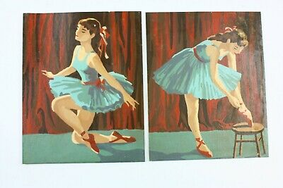 2 Vintage Paint By Number Paintings Ballet Girl Ballerina Dancer No Frame PBN
