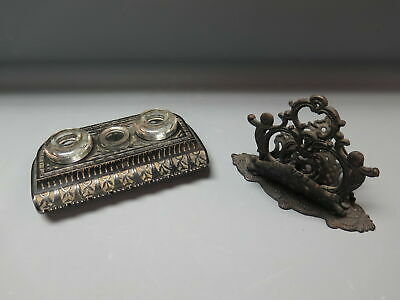 Antique/Vintage Cast Iron Ornate Letter Holder & Double Glass Inkwell