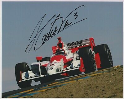 3X Indianapolis 500 winner HELIO CASTRONEVES Signed Indy 8x10 Race Photo Nice