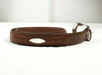 3D Belt Mens Size Brown Etched Silver Buckle 100% Genuine Leather Raised