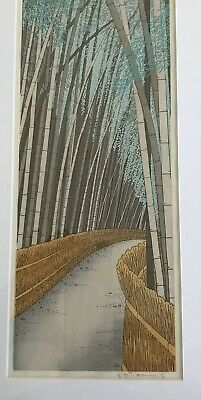 JAPANESE WOODBLOCK PRINT BY KATO TERUHIDE Sagani-Ji  BAMBOO IN EARY SUMMER