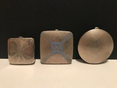 Lot of 3 Antique Art Deco Richard Hudnut New York Paris Silver Compacts 1920's