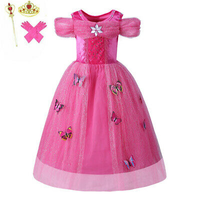 Pink butterfly Princess Dress Kids Girls Halloween Cosplay Fancy Party Outfit