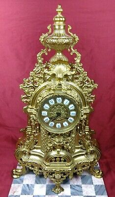 Large Beautiful Antique Italian Brass Mantle Shelf Clock