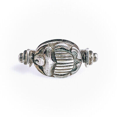 Vintage Sterling Silver Scarab Beetle Swivel Ring Egyptian Revival Goth 8.75-9