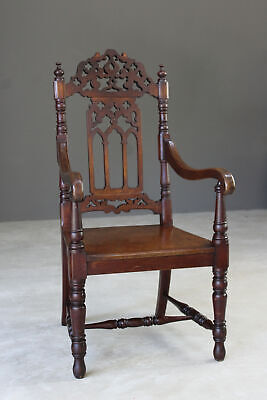 Gothic Style Mahogany Hall Chair