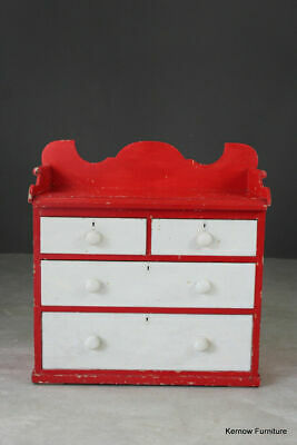 Painted Pine Antique Chest of Drawers with Gallery Back Bathroom Washstand