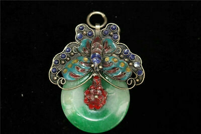 Collect Old Chinese Cloisonne Jade Hand-made safety button Ping buckle Pendant