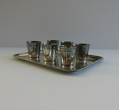 Antique Vintage French Art Deco Silver Plated Set Of 6 Shot Glasses Cups & Tray