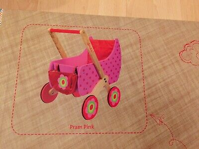 Brand New DUSHI Pink Wooden Push Car Doll Pram 12 Months and Over