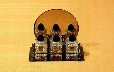 Cardinal Parfums Inc. Mid-century Perfume Bottle Set with Mirrored Display Caddy