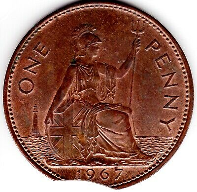 1967 One Penny Clipped Planchet Minting Error Queen Elizabeth II Extremely Fine