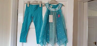 BNWT Girls Monsoon Dress and Leggings 2 pc Outfit 3-4 Years 4 yrs sequin summer