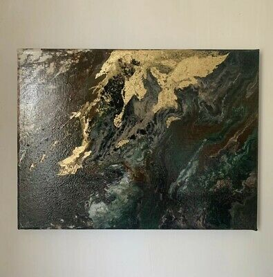 "Original Fluid Acrylic Pour - Gold Leaf - Abstract Art Painting 30x40"" Canvas"