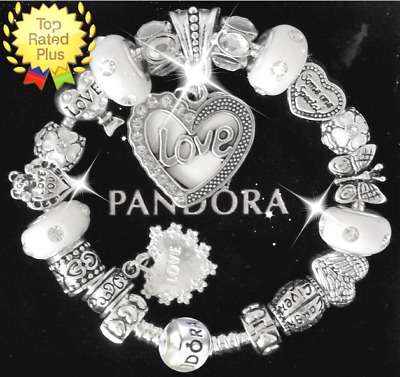 "Authentic Pandora Bracelet Silver with ""LOVE STORY""  White with European Charms"