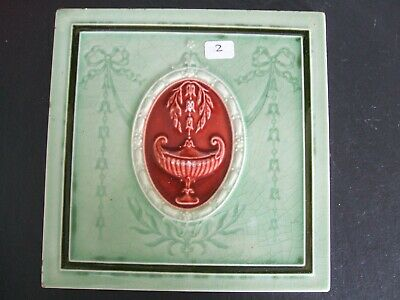 Antique Minton Hollins Green / Red Majolica Classical Design Tile  c.1900 #2
