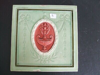 Antique Minton Hollins Green / Red Majolica Classical Design Tile  c.1900 #3