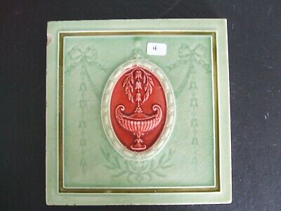 Antique Minton Hollins Green / Red Majolica Classical Design Tile  c.1900 #4