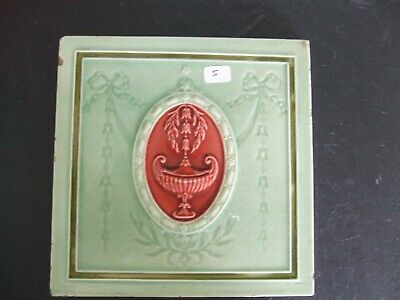 Antique Minton Hollins Green / Red Majolica Classical Design Tile  c.1900 #5