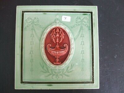 Antique Minton Hollins Green / Red Majolica Classical Design Tile  c.1900 #7