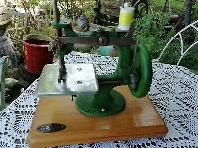 Vintage Miniature Grain Sewing Machine Wood Cast Iron Crank Handle Circa 1940