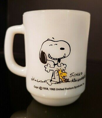 SNOOPY WOODSTOCK GOOD DAY Coffee MUG CUP Vintage Fire King / Anchor Hocking
