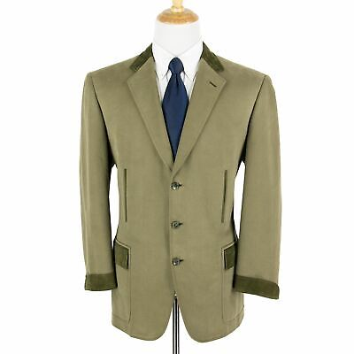 Brioni Steinbock Army Green Cotton Suede Accents Twill Dual Vents Jacket 44R
