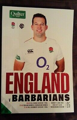 ENGLAND v BARBARIANS 02/06/2019 Rugby Union programme Quilter Cup