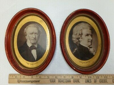 Collectible Pair of Old Portraits - Musical Composers - Mozart & Wagner - Sweet!