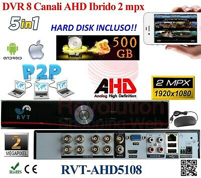 Dvr 8 Canali Con Hard Disk 500 Gb Ibrido 5 In 1 Full Hd  Onvif Nvr P2P Cloud Top