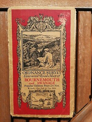 Ordnance Survey Contoured Road Map of Bournemouth and Swanage