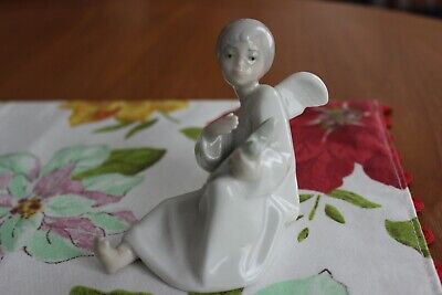 NAO by Lladro Young Boy Angel with Lyre Harp Figurine - EUC