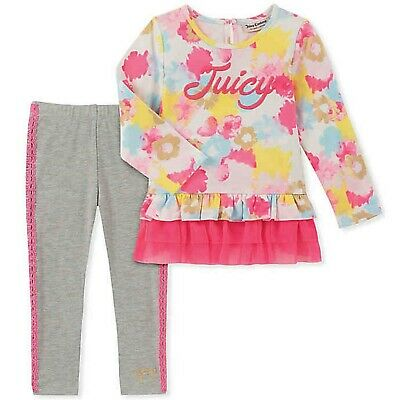 JUICY COUTURE girl 2pc floral tull ruffle LS TUNIC & lace trim LEGGINGS 3Y BNWT