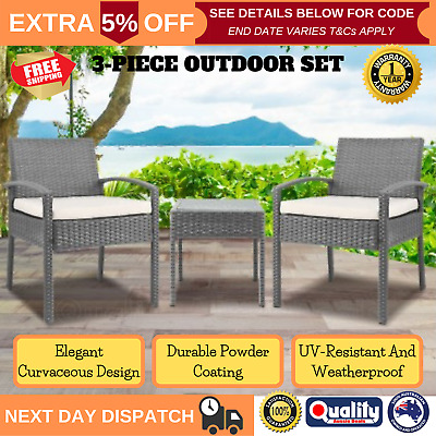 2 Seater Wicker Rattan Outdoor Table & Chairs Set Patio Garden Setting Furniture