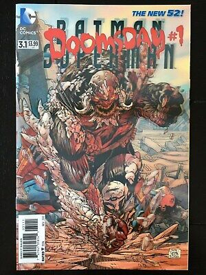 Batman Superman #3.1 Doomsday 1st Printing Lenticular Cover; NM/NM+ (9.4-9.6) 3D