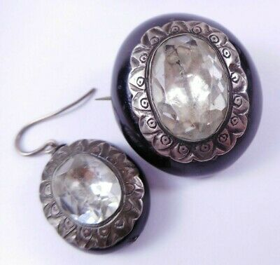 Antique Victorian Paste Vulcanite? Jet? Silver Brooch & Single Earring Mourning