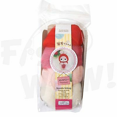Daiso Japan Roving Wool Needle felting red baby pink white
