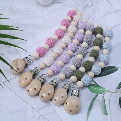 Baby Crochet Natural Wood Beads Soother Holder Pacifier Clip Chain Teething Toys
