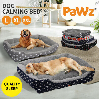 PaWz Pet Dog Cat Bed Deluxe Soft Cushion Lining Warm Kennel Mat Washable Blue