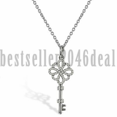 925 Sterling Silver Celtic Knot Love Key Cubic Zirconia Pendant Womens Necklace