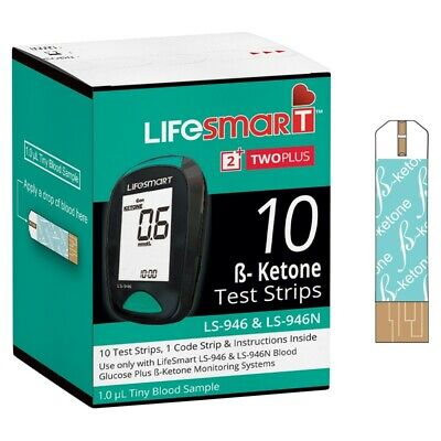 LIFESMART 2 TWO PLUS β-KETONE TEST STRIPS 10 PACK BETA KETONE LS-946 & LS-946N