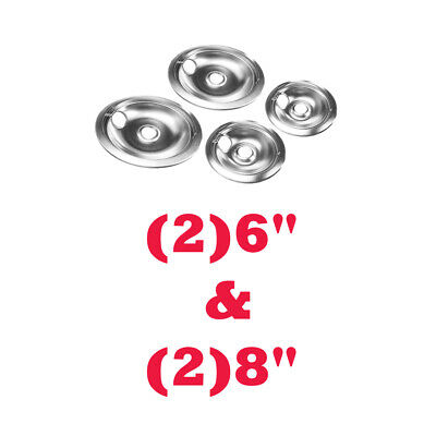 """Stove Drip Pans Replacement Set for Whirlpool etc,Chrome (2) 6"""" & (2) 8"""""""