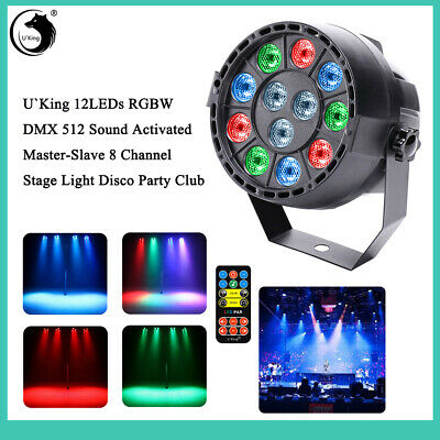 12 LED RGBW DMX512 Remote Control Stage Light DJ Wedding Disco Party TV theatre