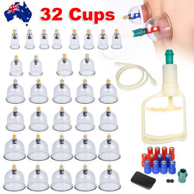 32x Vacuum Cups Cupping Set Massage Acupuncture Suction Massager Pain AU