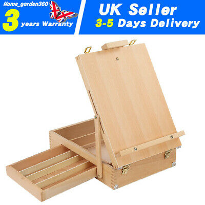 Artist Wood Table Top Desk Painting Easel Drawer Sketch Storage Box Portable