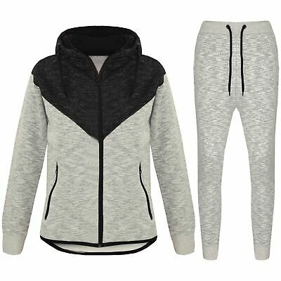 Kids Boys Girls Contrast Panel Tracksuit Black Hooded Top & Bottom Jogging Suits