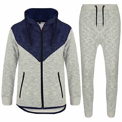 Kids Boys Girls Contrast Panel Tracksuit Navy Hooded Top & Bottom Jogging Suits