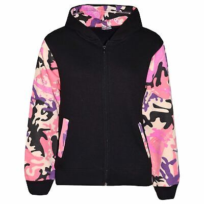 Kids Boys Girls Jackets Fleece Camouflage Baby Pink Hooded Hoodie Zipped Jackets