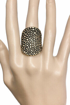 Antique Gold Tone Textured Patina Metal Stretchable Statement Ring Punk Goth